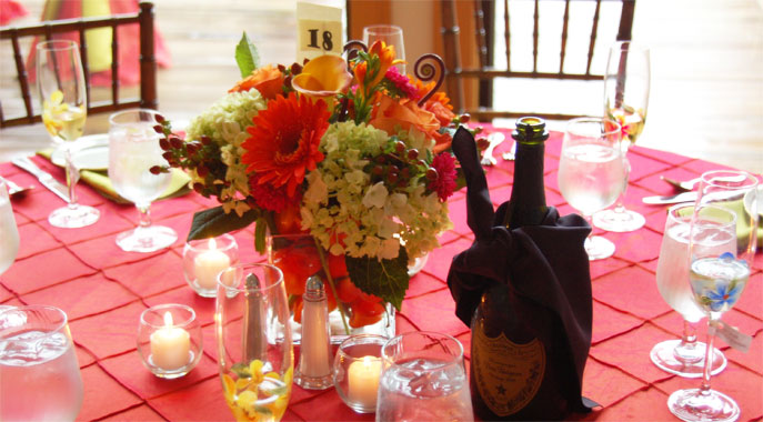 Flowers and champagne, awaiting wedding guests