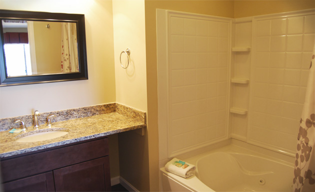 Freshly renovated master bathroom